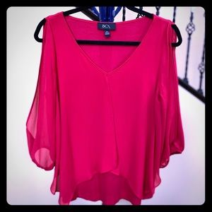 BCX red blouse with cut out sleeves